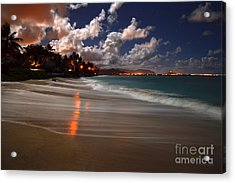 Lanikai Beach At Night View Of Kailua Bay  Acrylic Print