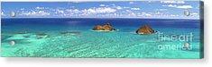 Lanikai Beach From Above Panorama Acrylic Print