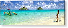 Lanikai Beach Paradise 3 To 1 Aspect Ratio Acrylic Print