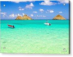 Acrylic Print featuring the photograph Lanikai Beach Two Boats And Two Mokes by Aloha Art