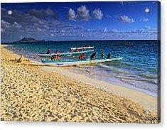 Acrylic Print featuring the photograph Lanikai Catamarans In The Morning by Aloha Art