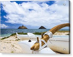 Acrylic Print featuring the photograph Lanikai Outrigger 1 by Leigh Anne Meeks