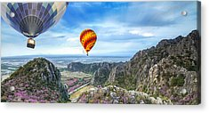 Lanscape Of Mountain And Balloon Acrylic Print by Anek Suwannaphoom