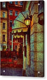 Lantern At The Cafe Acrylic Print by Gynt