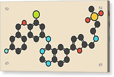 Lapatinib Cancer Drug Molecule Acrylic Print by Molekuul