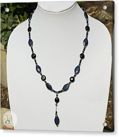 Lapis Lazuli And Black Onyx Lariat Necklace 3675 Acrylic Print by Teresa Mucha