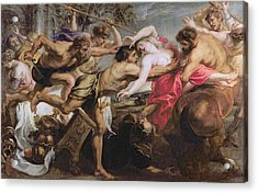 Lapiths And Centaurs Oil On Canvas Acrylic Print by Peter Paul Rubens