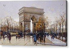 L'arc De Triomphe Paris Acrylic Print by Eugene Galien-Laloue