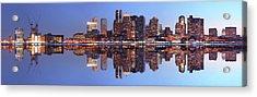 Large Boston City Panorama At Night Acrylic Print by Buzbuzzer
