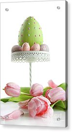 Large Easter Egg With Pink Tulips  Acrylic Print by Sandra Cunningham