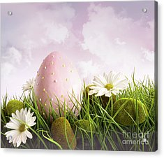 Large Pink Easter With Flowers In Tall Grass Acrylic Print by Sandra Cunningham