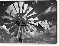 Large Windmill In Black And White Acrylic Print