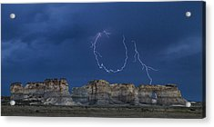 Lariat Lightning At Monument Rocks Acrylic Print by Rob Graham