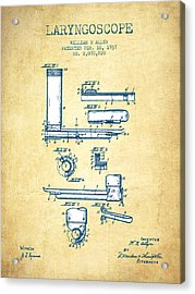 Laryngoscope Patent From 1937  - Vintage Paper Acrylic Print by Aged Pixel