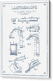 Laryngoscope Patent From 1989  - Blue Ink Acrylic Print by Aged Pixel