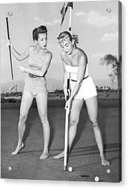 Las Vegas Showgirl Golf Acrylic Print