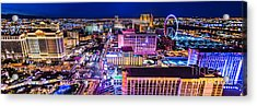 Las Vegas Strip North View 3 To 1 Aspect Ratio Acrylic Print