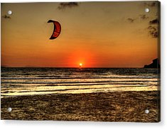 Acrylic Print featuring the photograph Last Glipses Of Sun At Prasonisi Bay by Julis Simo