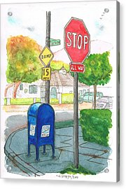 Last Mailbox In Toluca Lake, California Acrylic Print by Carlos G Groppa