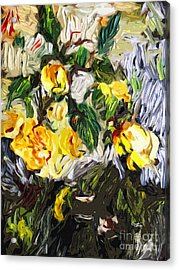 Last Of The Yellow Roses Acrylic Print by Ginette Callaway