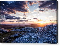 Last Rays. Sunset On Foss Mountain. Acrylic Print