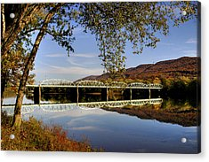 Last Reflections Of The Old Bridge Acrylic Print by Gene Walls