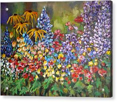 Acrylic Print featuring the painting Last Summer's Flowers by Irena Mohr