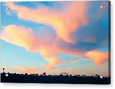 Fiery Sunset And Lenticular Cirrus Clouds - Newport Beach Backbay California Acrylic Print by Ram Vasudev