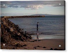 Late Afternoon Angler - Maalaea-maui Acrylic Print by Paulette B Wright