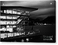 late evening at the Vancouver convention centre west building on burrard inlet BC Canada Acrylic Print by Joe Fox