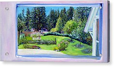 Acrylic Print featuring the painting Late Spring Yard With Redwoods And Apple Trees by Asha Carolyn Young
