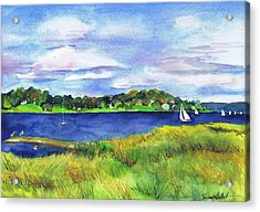 Late Summer Marsh Oyster Bay Acrylic Print by Susan Herbst