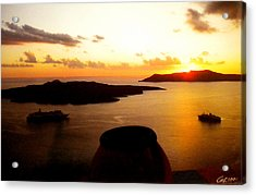 Late Sunset Santorini  Island Greece Acrylic Print