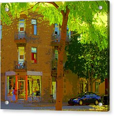 L'atelier Boutique Rue Clark And Fairmount Art Of Montreal Street Scene In Summer By Carole Spandau  Acrylic Print by Carole Spandau