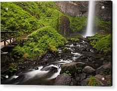 Latourell Falls And Rapids Acrylic Print by Andrew Soundarajan