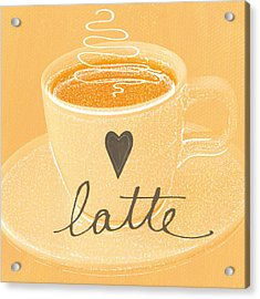 Latte Love In Orange And White Acrylic Print by Linda Woods
