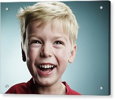 Laughing 4 Year Old Boy Acrylic Print by Ryan McVay