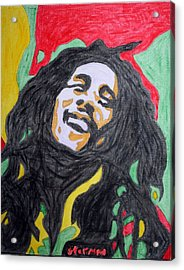 Acrylic Print featuring the painting Happy Bob Marley  by Stormm Bradshaw