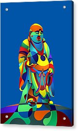 Laughing Buddha Blue Acrylic Print
