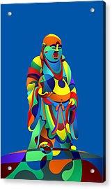 Laughing Buddha Blue Acrylic Print by Randall Henrie