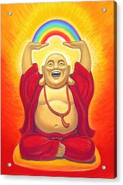 Laughing Rainbow Buddha Acrylic Print