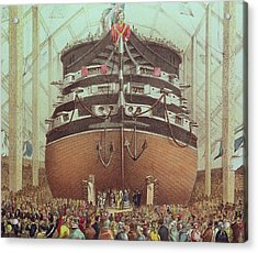 Launch Of Hms Royal Albert Acrylic Print by English School