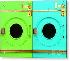 Laundromat Drying Machines Two 20130801b Acrylic Print by Wingsdomain Art and Photography
