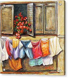 Laundry Day In The Villa Acrylic Print