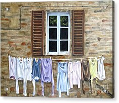 Laundry Day In Tuscany Acrylic Print by Karen Olson