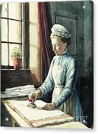 Laundry Maid Acrylic Print by English School