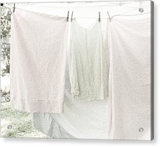 Acrylic Print featuring the photograph Laundry On The Line In Pink And Green by Brooke T Ryan