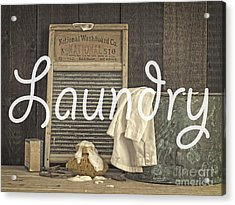 Laundry Room Sign Acrylic Print by Edward Fielding