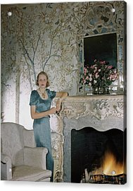 Laura Elizabeth Curtis By A Fireplace Acrylic Print