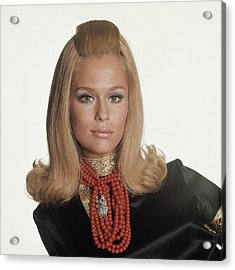 Laura Hutton Wearing Tiffany Necklaces Acrylic Print by Bert Stern
